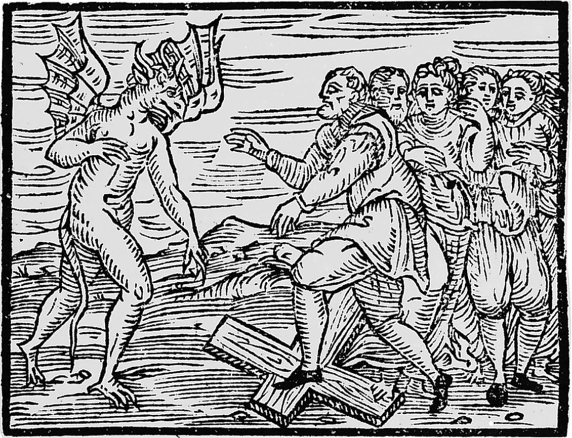 Athe devil and witches trampling a cross from compendium maleficarum 1608