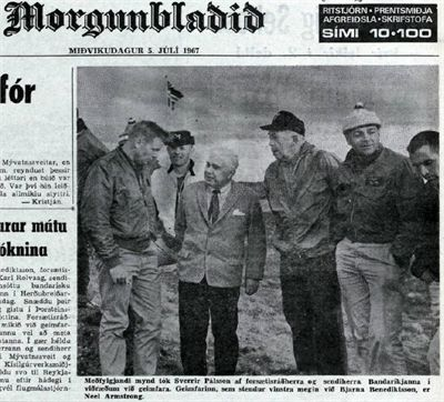 The back page of morgunbladid july 5 1967 neil armstrong on the left talks to prime minister bjarni benediktsson
